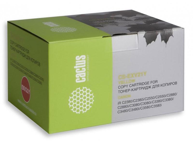 Лазерный картридж Cactus CS-EXV21Y (C-EXV21Y) желтый для принтеров Canon iR C2380, C2380i, C2550, C2550i, C2880, C2880i, C3080, C3080i, C3380, C3380i, C3480, C3480i, C3580, C3580i (14000 стр.)Лазерные картриджи<br>Лазерный картридж&amp;nbsp;Cactus CS-EXV21Y&amp;nbsp;(C-EXV21Y). Он совместим с лазерными принтерами&amp;nbsp;Canon ImageRunner C2380, C2380i, C2550, C2550i, C2880, C2880i, C3080, C3080i, C3380, C3380i, C3480, C3480i, C3580, C3580i.&amp;nbsp;Цвет - желтый. С помощью данного картриджа Вы сможете распечатать порядка 14000 страниц текста (при 5% заполнении листа).&amp;nbsp; Cactus CS-EXV21Y&amp;nbsp;создан по аналогии скартриджем Canon&amp;nbsp;EXV21Y&amp;nbsp;(C-EXV21Y), нисколько не уступает ему по качеству печати, но цена его значительно ниже. Это позволит Вам немного сэкономить, ничего при этом не потеряв. На тонер-картридж Cactus CS-EXV21Y&amp;nbsp;распространяется гарантия 1 год с момента приобретения.<br>