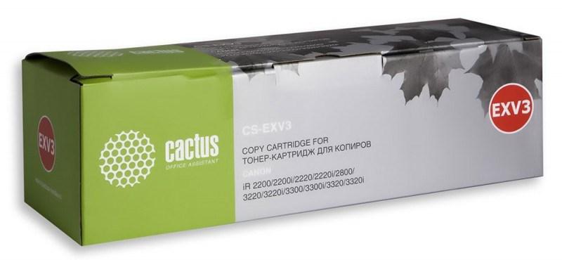 Лазерный картридж Cactus CS-EXV3 (C-EXV3) черный для принтеров Canon IR 2200, IR 2200i, IR 2220, IR 2220i, IR 2800, IR 3220, IR 3220i, IR 3300, IR 3300i, IR 3320, IR 3320i (15000 стр.)Лазерные картриджи<br>Лазерный картридж&amp;nbsp;Cactus CS-EXV3&amp;nbsp;(С-EXV3). Он совместим с лазерными принтерами&amp;nbsp;Canon ImageRunner 2200, 2200i, 2220, 2220i, 2800, 3220, 3220i, 3300, 3300i, 3320, 3320i.&amp;nbsp;Цвет - черный. С помощью данного картриджа Вы сможете распечатать порядка 15000 страниц текста (при 5% заполнении листа).&amp;nbsp; Cactus CS-EXV3&amp;nbsp;создан по аналогии скартриджем Canon&amp;nbsp;EXV3&amp;nbsp;(С-EXV3), нисколько не уступает ему по качеству печати, но цена его значительно ниже. Это позволит Вам немного сэкономить, ничего при этом не потеряв. На тонер-картридж Cactus CS-EXV3&amp;nbsp;распространяется гарантия 1 год с момента приобретения.<br>
