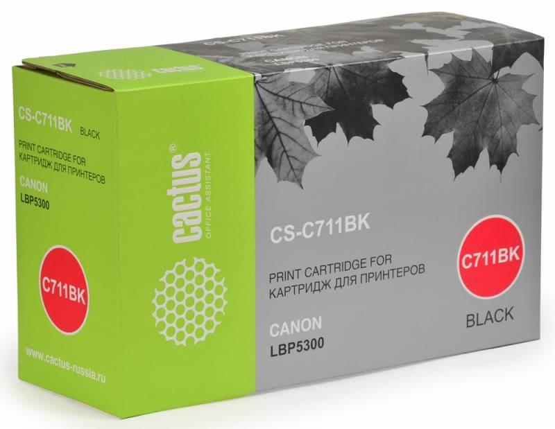 Лазерный картридж Cactus CS-C711BK (№711BK) черный для принтеров Canon imageClass MF9220, MF9280, LaserBase MF8450 i-Sensys, MF9130 i-Sensys, MF9170 i-Sensys, MF9220 i-Sensys, MF9280 i-Sensys, LBP 5300 i-Sensys, 5360 i-Sensys (6000 стр.)Лазерные картриджи<br>Лазерный картридж&amp;nbsp;Cactus CS-C711BK&amp;nbsp;(№C711BK). Он совместим с лазерными принтерами&amp;nbsp;Canon imageClass MF9220, MF9220Cdn, MF9280, MF9280Cdn, LaserBase MF8450 i-Sensys, MF9130 i-Sensys, MF9170 i-Sensys, MF9220 i-Sensys, MF9220Cdn i-Sensys, MF9280 i-Sensys, MF9280Cdn i-Sensys, LBP 5300 i-Sensys, 5360 i-Sensys.&amp;nbsp;Цвет - черный. С помощью данного картриджа Вы сможете распечатать порядка 6000 страниц текста (при 5% заполнении листа).&amp;nbsp; Cactus CS-C711BK&amp;nbsp;создан по аналогии скартриджем Canon&amp;nbsp;C711BK&amp;nbsp;(№C711BK), нисколько не уступает ему по качеству печати, но цена его значительно ниже. Это позволит Вам немного сэкономить, ничего при этом не потеряв. На тонер-картридж Cactus CS-C711BK&amp;nbsp;распространяется гарантия 1 год с момента приобретения.<br>