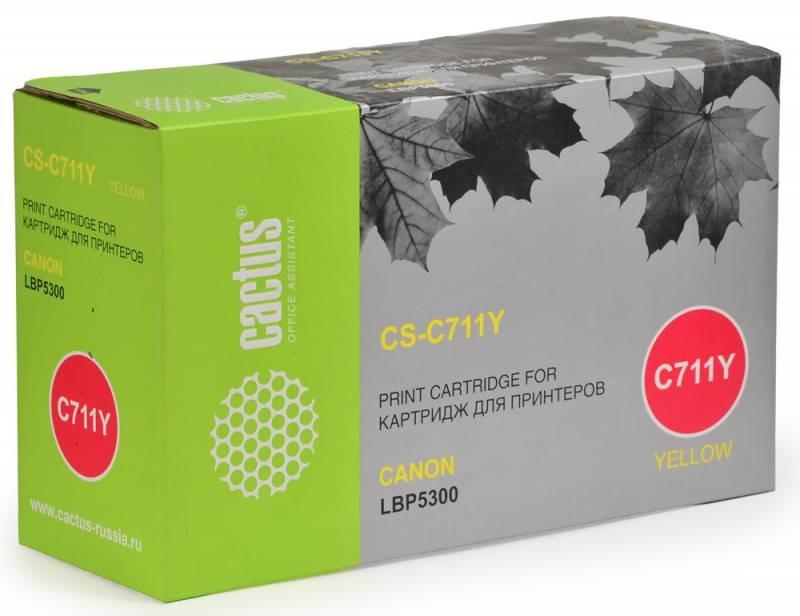 Лазерный картридж Cactus CS-C711Y (№711Y) желтый для принтеров Canon imageClass MF9220, MF9280, LaserBase MF8450 i-Sensys, MF9130 i-Sensys, MF9170 i-Sensys, MF9220 i-Sensys, MF9280 i-Sensys, LBP 5300 i-Sensys, 5360 i-Sensys (6000 стр.)Лазерные картриджи<br>Лазерный картридж&amp;nbsp;Cactus CS-C711Y&amp;nbsp;(№C711Y). Он совместим с лазерными принтерами&amp;nbsp;Canon imageClass MF9220, MF9220Cdn, MF9280, MF9280Cdn, LaserBase MF8450 i-Sensys, MF9130 i-Sensys, MF9170 i-Sensys, MF9220 i-Sensys, MF9220Cdn i-Sensys, MF9280 i-Sensys, MF9280Cdn i-Sensys, LBP 5300 i-Sensys, 5360 i-Sensys.&amp;nbsp;Цвет - желтый. С помощью данного картриджа Вы сможете распечатать порядка 6000 страниц текста (при 5% заполнении листа).&amp;nbsp; Cactus CS-C711Y&amp;nbsp;создан по аналогии скартриджем Canon&amp;nbsp;C711Y&amp;nbsp;(№C711Y), нисколько не уступает ему по качеству печати, но цена его значительно ниже. Это позволит Вам немного сэкономить, ничего при этом не потеряв. На тонер-картридж Cactus CS-C711Y&amp;nbsp;распространяется гарантия 1 год с момента приобретения.<br>
