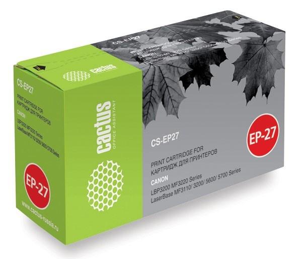 Лазерный картридж Cactus CS-EP27S (EP-27) черный для принтеров Canon imageClass MF3110, MF3240, MF5550, MF5730, MF5770, LaserBase MF3110, MF3200, MF3220 i-Sensys, MF3240, MF5630, MF5750, MF5770, LBP 27, 300, 3200 Laser Shot, 3240 I-Sensys (2700 стр.)Лазерные картриджи<br>Лазерный картридж&amp;nbsp;Cactus CS-EP27S&amp;nbsp;(EP-27). Он совместим с лазерными принтерами&amp;nbsp; Canon imageClass MF3110, MF3111, MF3240, MF5530, MF5550, MF5730, MF5750, MF5770, LaserBase MF3110, MF3200, MF3220 i-Sensys, MF3228 i-Sensys, MF3240, MF5630, MF5650, MF5730, MF5750, MF5770, LBP 27, 300, 300LDA, 300LDF, 300N, 3200 Laser Shot, 3240 I-Sensys.&amp;nbsp;Цвет - черный. С помощью данного картриджа Вы сможете распечатать порядка 2500 страниц текста (при 5% заполнении листа).&amp;nbsp; Cactus CS-EP27S создан по аналогии скартриджем Canon&amp;nbsp;EP27&amp;nbsp;(EP-27), нисколько не уступает ему по качеству печати, но цена его значительно ниже. Это позволит Вам немного сэкономить, ничего при этом не потеряв. На тонер-картридж Cactus CS-EP27S распространяется гарантия 1 год с момента приобретения.<br>