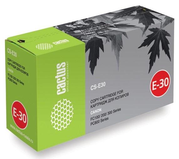 Лазерный картридж Cactus CS-E30S (1491A003) черный увеличенной емкости для Canon FC 21, 100, 200, 300, 530, 740, 770, PC 140, 160, 300, 400, 530, 680, 710, 750, 780, 790, 850, 870, 920, 950, Olivetti Copia 8004, 8006, 9004, 9404 (4'000 стр.)