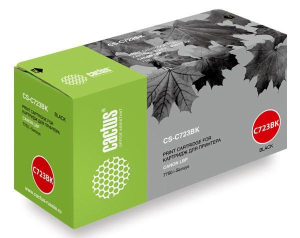 Лазерный картридж Cactus CS-C723BK (№723BK) черный для принтеров Canon LBP 7750 i-Sensys, 7750cd i-Sensys, 7750Cdn i-Sensys (5000 стр.)Лазерные картриджи<br>Лазерный картридж&amp;nbsp;Cactus CS-C723BK&amp;nbsp;(№723BK). Он совместим с лазерными принтерами&amp;nbsp;Canon LBP 7750 i-Sensys, 7750cd i-Sensys, 7750Cdn i-Sensys.&amp;nbsp;Цвет - черный. С помощью данного картриджа Вы сможете распечатать порядка 5000 страниц текста (при 5% заполнении листа).&amp;nbsp; Cactus CS-C723BK создан по аналогии скартриджем Canon&amp;nbsp;C723BK (№723BK), нисколько не уступает ему по качеству печати, но цена его значительно ниже. Это позволит Вам немного сэкономить, ничего при этом не потеряв. На тонер-картридж Cactus CS-C723BK&amp;nbsp;распространяется гарантия 1 год с момента приобретения.<br>