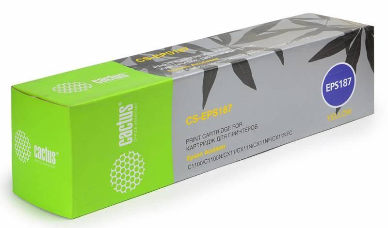Лазерный картридж Cactus CS-EPS187 (C13S050187) желтый для принтеров AcuLaser C1100, C1100N, CX11, CX11N, CX11NF, CX11NFC (4000 стр.)