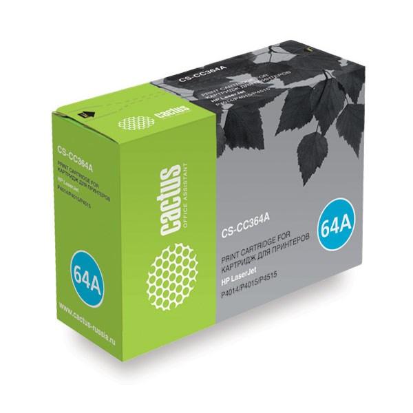 Лазерный картридж Cactus CS-CC364A (HP 64A) черный для HP LaserJet P4010, P4014, P4014dn (CB512A), P4014n, P4015, P4015dn, P4015n, P4015tn, P4015x, P4510, P4515, P4515n, P4515tn, P4515x, P4515xm (10000 стр.)Лазерные картриджи для HP<br><br><br>Лазерный картридж Cactus CS-CC364A<br><br>Предназначен для использования в принтерах HP LaserJet P4010, P4014, P4014dn (CB512A), P4014n, P4015, P4015dn, P4015n, P4015tn, P4015x, P4510, P4515, P4515n, P4515tn, P4515x, P4515xm<br><br>Страна производства - Китай<br><br>Цвет ndash; черный<br><br>Используя картридж Cactus CS-CC364A у Вас будет возможность распечатать около 10#39;000 информационных страниц (при 5% заполнении).<br><br>Гарантия на картридж Cactus CS-CC364A предоставляется производителем, сроком на 12 месяцев с момента приобретения.nbsp;<br><br>