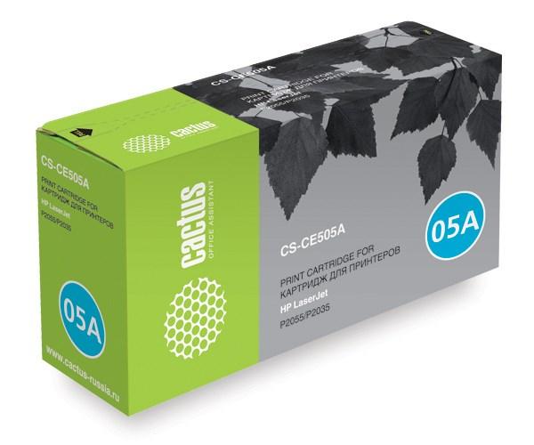 Лазерный картридж Cactus CS-CE505A (HP 05A) черный для принтеров HP LaserJet P2030, P2035, P2035n, P2050, P2055, P2055d, P2055dn, P2055x (2300 стр.)Лазерные картриджи для HP<br>Лазерный картридж&amp;nbsp;Cactus CS-CE505A (HP 05A). Он совместим с лазерным принтером HP LaserJet P2030, P2035, P2035N, P2050, P2055, P2055D, P2055DN, P2055X. Цвет - черный. С помощью данного картриджа Вы сможете распечатать порядка 2300 страниц текста (при 5% заполнении листа).&amp;nbsp; Cactus CS-CE505A&amp;nbsp;создан по аналогии с картриджем Hewlett-Packard CE505A&amp;nbsp;(HP 05A), нисколько не уступает ему по качеству печати, но цена его значительно ниже. Это позволит Вам немного сэкономить, ничего при этом не потеряв. На тонер-картридж Cactus CS-CE505A&amp;nbsp;распространяется гарантия 1 год с момента приобретения.<br>