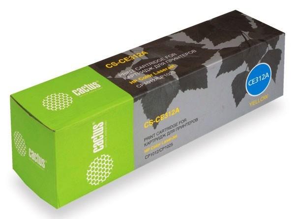Лазерный картридж Cactus CS-CE312A(126A Y) желтый для HP Color LaserJet CP1012 Pro, CP1025 Pro (CF346A), CP1025nw Pro (CE918A), CP1025 Pro Plus, M175a colorMFP Pro (CE865A), M175nw (CE866A), M275 (CF040A), M275nw (200 colorMFP) (1000 стр.)Лазерные картриджи для HP<br><br><br>Лазерный картридж Cactus CS-CE312A&amp;nbsp;<br><br>Предназначен для использования в принтерах HP Color LaserJet CP1012 Pro, CP1025 Pro (CF346A), CP1025nw Pro (CE918A), CP1025 Pro Plus, M175a colorMFP Pro (CE865A), M175nw (CE866A), M275 (CF040A), M275nw (200 colorMFP)<br><br>Цвет &amp;ndash; желтый<br><br>Используя картридж Cactus CS-CE312A&amp;nbsp;у Вас будет возможность распечатать около 1&amp;#39;000 информационных страниц (при 5% заполнении).<br><br>Гарантия на картридж Cactus CS-CE312A&amp;nbsp;предоставляется производителем, сроком на 12 месяцев с момента приобретения.<br><br><br>