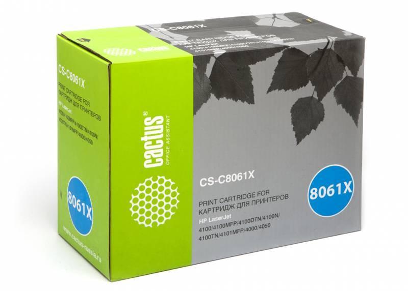 Лазерный картридж Cactus CS-C8061X (HP 61X) черный для принтеров HP LaserJet 4100, 4100DTN, 4100MFP, 4100N, 4100TN, 4101, 4101 MFP (10000 стр.)Лазерные картриджи для HP<br>Лазерный картридж&amp;nbsp;Cactus CS-C8061X&amp;nbsp;(HP 61X)?. Он совместим с лазерным принтером HP LaserJet 4100, 4100DTN, 4100MFP, 4100N, 4100TN, 4101, 4101 MFP. Цвет - черный. С помощью данного картриджа Вы сможете распечатать порядка 10000 страниц текста (при 5% заполнении листа).&amp;nbsp; Cactus CS-C8061X&amp;nbsp;создан по аналогии с картриджем Hewlett-Packard C8061X&amp;nbsp;(HP 61X), нисколько не уступает ему по качеству печати, но цена его значительно ниже. Это позволит Вам немного сэкономить, ничего при этом не потеряв. На тонер-картридж Cactus CS-C8061X&amp;nbsp;распространяется гарантия 1 год с момента приобретения.<br>
