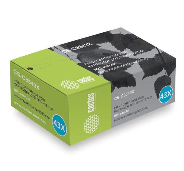 Лазерный картридж Cactus CS-C8543X (HP 43X) черный для принтеров HP LaserJet 9000, 9000DN, 9000HNF, 9000HNS, 9000MFP, 9000L MFP, 9000N, 9040, 9040DN, 9040MFP, 9040N, 9050, 9050DN, 9050MFP, 9050N, M9040 MFP, M9050 MFP, M9059 MFP (30000 стр.)Лазерные картриджи для HP<br>Лазерный картридж&amp;nbsp;Cactus CS-C8543X&amp;nbsp;(HP 43X)?. Он совместим с лазерным принтером HP LaserJet 9000, 9000DN, 9000HNF, 9000HNS, 9000MFP, 9000L MFP, 9000N, 9040, 9040DN, 9040MFP, 9040N, 9050, 9050DN, 9050MFP, 9050N, M9040 MFP, M9050 MFP, M9059 MFP. Цвет - черный. С помощью данного картриджа Вы сможете распечатать порядка 30000 страниц текста (при 5% заполнении листа).&amp;nbsp; Cactus CS-C8543X&amp;nbsp;создан по аналогии с картриджем Hewlett-Packard C8543X&amp;nbsp;(HP 43X), нисколько не уступает ему по качеству печати, но цена его значительно ниже. Это позволит Вам немного сэкономить, ничего при этом не потеряв. На тонер-картридж Cactus CS-C8543X&amp;nbsp;распространяется гарантия 1 год с момента приобретения.<br>