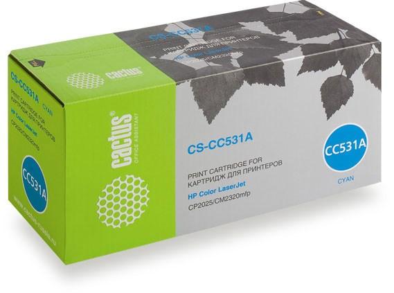 Лазерный картридж Cactus CS-CC531A (HP 304A) голубой для HP Color LaserJet CM2320 MFP, CM2320fxi (CC435A), CM2320n, CM2320nf (CC436A), CP2020 series, CP2025 (CB493A), CP2025dn (CB495A), CP2025n (CB494A), CP2025x (2'800 стр.) фото
