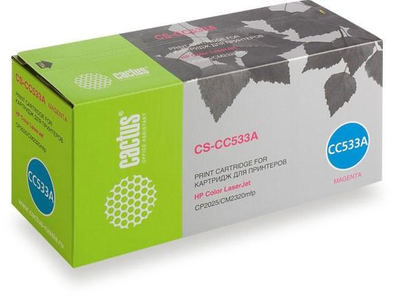 Лазерный картридж Cactus CS-CC533A (HP 304A) пурпурный для HP Color LaserJet CM2320 mfp, CM2320fxi (CC435A), CM2320n, CM2320nf (CC436A), CP2020 series, CP2025 (CB493A), CP2025dn (CB495A), CP2025n (CB494A), CP2025X (2800 стр.)Лазерные картриджи для HP<br><br><br>Лазерный картридж Cactus CS-CC533A<br><br>Предназначен для использования в принтерах HP Color LaserJet CM2320 mfp, CM2320fxi (CC435A), CM2320n, CM2320nf (CC436A), CP2020 series, CP2025 (CB493A), CP2025dn (CB495A), CP2025n (CB494A), CP2025xnbsp;<br><br>Страна производства - Китай<br><br>Цвет ndash; пурпурный<br><br>Используя картридж Cactus CS-CC533A у Вас будет возможность распечатать около 2#39;800 информационных страниц (при 5% заполнении).<br><br>Гарантия на картридж Cactus CS-CC533A предоставляется производителем, сроком на 12 месяцев с момента приобретения.<br><br>