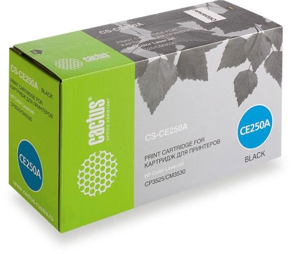 Лазерный картридж Cactus CS-CE250A (HP 504A) черный для принтеров HP  Color LaserJet CM3530, CM3530fs MFP, CP3520, CP3525, CP3525dn, CP3525n, CP3525x (5000 стр.)Лазерные картриджи для HP<br>Лазерный картридж&amp;nbsp;Cactus CS-CE250A&amp;nbsp;(HP 504A)?. Он совместим с лазерным принтером HP  Color LaserJet CM3530, CM3530FS MFP, CP3520, CP3525, CP3525DN, CP3525N, CP3525X. Цвет - черный. С помощью данного картриджа Вы сможете распечатать порядка 5000 страниц текста (при 5% заполнении листа).&amp;nbsp; Cactus CS-CE250A&amp;nbsp;создан по аналогии с картриджем Hewlett-Packard CE250A&amp;nbsp;(HP 504A), нисколько не уступает ему по качеству печати, но цена его значительно ниже. Это позволит Вам немного сэкономить, ничего при этом не потеряв. На тонер-картридж Cactus CS-CE250A&amp;nbsp;распространяется гарантия 1 год с момента приобретения.<br>