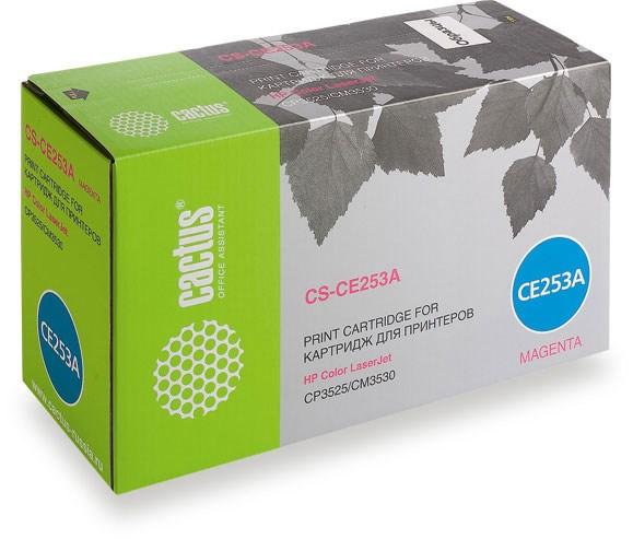 Лазерный картридж Cactus CS-CE253A (HP 504A) пурпурный для принтеров HP  Color LaserJet CM3530, CM3530fs MFP, CP3520, CP3525, CP3525dn, CP3525n, CP3525x (7000 стр.)Лазерные картриджи для HP<br>Лазерный картридж&amp;nbsp;Cactus CS-CE253A&amp;nbsp;(HP 504A)?. Он совместим с лазерным принтером HP  Color LaserJet CM3530, CM3530FS MFP, CP3520, CP3525, CP3525DN, CP3525N, CP3525X. Цвет - пурпурный. С помощью данного картриджа Вы сможете распечатать порядка 7000 страниц текста (при 5% заполнении листа).&amp;nbsp; Cactus CS-CE253A&amp;nbsp;создан по аналогии с картриджем Hewlett-Packard CE253A&amp;nbsp;(HP 504A), нисколько не уступает ему по качеству печати, но цена его значительно ниже. Это позволит Вам немного сэкономить, ничего при этом не потеряв. На тонер-картридж Cactus CS-CE253A&amp;nbsp;распространяется гарантия 1 год с момента приобретения.<br>