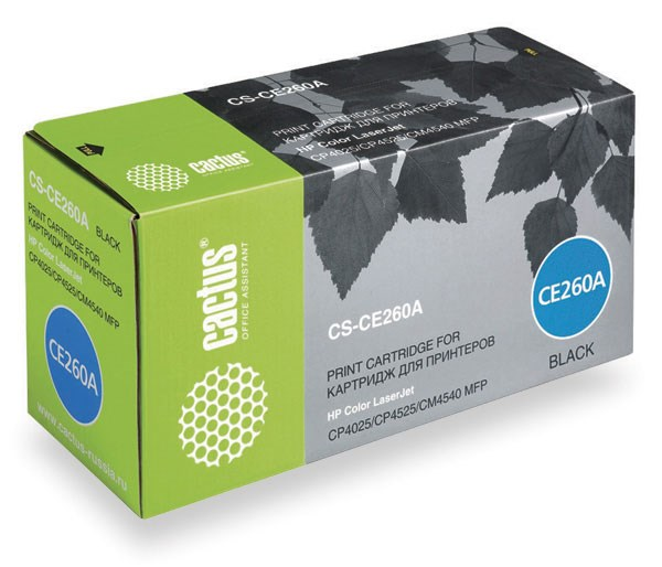 Лазерный картридж Cactus CS-CE260A (HP 647A) черный для принтеров HP  Color LaserJet CM4540 MFP, CM4540f MFP, CM4540fskm MFP, CM4540mfp Ent, CP4020 Ent, CP4025 Ent, CP4025dn, CP4025n, CP4520 Ent, CP4525 Ent, CP4525dn, CP4525N, CP4525XH (8500 стр.)Лазерные картриджи для HP<br>Лазерный картридж&amp;nbsp;Cactus CS-CE260A&amp;nbsp;(HP 647A)?. Он совместим с лазерным принтером HP Color LaserJet CM4540 MFP, CM4540F MFP, CM4540FSKM MFP, CM4540MFP ENTERPRISE, CP4020 ENTERPRISE, CP4025 ENTERPRISE, CP4025DN, CP4025N, CP4520 ENTERPRISE, CP4525 ENTERPRISE, CP4525DN, CP4525N, CP4525XH. Цвет - черный. С помощью данного картриджа Вы сможете распечатать порядка 8500 страниц текста (при 5% заполнении листа).&amp;nbsp; Cactus CS-CE260A&amp;nbsp;создан по аналогии с картриджем Hewlett-Packard CE260A&amp;nbsp;(HP 647A), нисколько не уступает ему по качеству печати, но цена его значительно ниже. Это позволит Вам немного сэкономить, ничего при этом не потеряв. На тонер-картридж Cactus CS-CE260A&amp;nbsp;&amp;nbsp;распространяется гарантия 1 год с момента приобретения.<br>