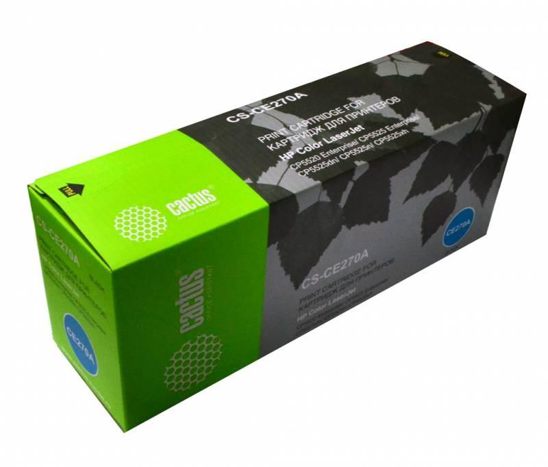 Лазерный картридж Cactus CS-CE270A (HP 650A) черный для принтеров HP  Color LaserJet CP5520 Enterprise, CP5525 Enterprise, CP5525dn, CP5525n, CP5525xh, M750dn Enterprise D3L09A, M750n Enterprise D3L08A, M750xh Enterprise D3L10A (13000 стр.)Лазерные картриджи для HP<br>Лазерный картридж&amp;nbsp;Cactus CS-CE270A&amp;nbsp;(HP 650A)?. Он совместим с лазерным принтером HP  Color LaserJet CP5520 ENTERPRISE, CP5525 ENTERPRISE, CP5525DN, CP5525N, CP5525XH, M750DN ENTERPRISE D3L09A, M750N ENTERPRISE D3L08A, M750XH ENTERPRISE D3L10A. Цвет - черный. С помощью данного картриджа Вы сможете распечатать порядка 13000 страниц текста (при 5% заполнении листа).&amp;nbsp; Cactus CS-CE270A&amp;nbsp;создан по аналогии с картриджем Hewlett-Packard CE270A&amp;nbsp;(HP 650A), нисколько не уступает ему по качеству печати, но цена его значительно ниже. Это позволит Вам немного сэкономить, ничего при этом не потеряв. На тонер-картридж Cactus CS-CE270A&amp;nbsp;распространяется гарантия 1 год с момента приобретения.<br>