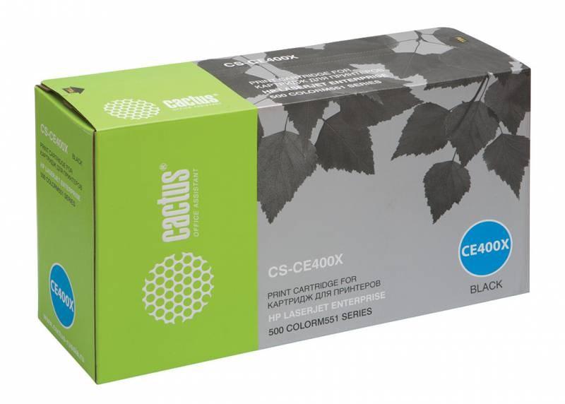 Лазерный картридж Cactus CS-CE400X (HP 507X) черный для принтеров HP  Color LaserJet M551 (Ent 500 color), M551dn Ent (CF082A), M551n Ent, M551xh Ent, M570 (Pro 500 color MFP), M570dn (Pro 500 colorMFP), M570dw (Pro 500 colorMFP) (11000 стр.)Лазерные картриджи для HP<br>Лазерный картридж&amp;nbsp;Cactus CS-CE400X&amp;nbsp;(HP 507X)?. Он совместим с лазерным принтером HP Color&amp;nbsp;LaserJet M551 (ENTERPRISE 500 COLOR), M551DN ENTERPRISE (CF082A), M551N ENTERPRISE, M551XH ENTERPRISE, M570 (PRO 500 COLOR MFP), M570DN (PRO 500 COLORMFP), M570DW (PRO 500 COLORMFP). Цвет - черный. С помощью данного картриджа Вы сможете распечатать порядка 11000 страниц текста (при 5% заполнении листа).&amp;nbsp; Cactus CS-CE400X&amp;nbsp;создан по аналогии с картриджем Hewlett-Packard CE400X&amp;nbsp;(HP 507X), нисколько не уступает ему по качеству печати, но цена его значительно ниже. Это позволит Вам немного сэкономить, ничего при этом не потеряв. На тонер-картридж Cactus CS-CE400X&amp;nbsp;распространяется гарантия 1 год с момента приобретения.<br>