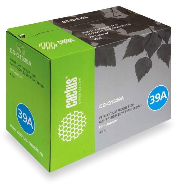 Лазерный картридж Cactus CS-Q1339A (HP 39A) черный для принтеров HP LaserJet 4300, 4300DTN, 4300DTNS, 4300DTNSL, 4300N, 4300TN (18000 стр.)Лазерные картриджи для HP<br>Лазерный картридж&amp;nbsp;Cactus CS-Q1339A&amp;nbsp;(HP 39A)?. Он совместим с лазерным принтером HP LaserJet 4300, 4300DTN, 4300DTNS, 4300DTNSL, 4300N, 4300TN. Цвет - черный. С помощью данного картриджа Вы сможете распечатать порядка 18000 страниц текста (при 5% заполнении листа).&amp;nbsp; Cactus CS-Q1339A&amp;nbsp;создан по аналогии с картриджем Hewlett-Packard Q1339A&amp;nbsp;(HP 39A), нисколько не уступает ему по качеству печати, но цена его значительно ниже. Это позволит Вам немного сэкономить, ничего при этом не потеряв. На тонер-картридж Cactus CS-Q1339A&amp;nbsp;распространяется гарантия 1 год с момента приобретения.<br>
