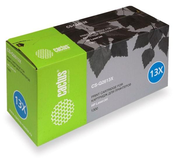 Лазерный картридж Cactus CS-Q2613X (HP 13X) черный для принтеров LaserJet 1300, 1300N, 1300Xi (4000 стр.)Лазерные картриджи для HP<br>Лазерный картридж&amp;nbsp;Cactus CS-Q2613X&amp;nbsp;(HP 13X)?. Он совместим с лазерным принтером HP LaserJet 1300, 1300N, 1300XI. Цвет - черный. С помощью данного картриджа Вы сможете распечатать порядка 4000 страниц текста (при 5% заполнении листа).&amp;nbsp; Cactus CS-Q2613X&amp;nbsp;создан по аналогии с картриджем Hewlett-Packard Q2613X&amp;nbsp;(HP 13X), нисколько не уступает ему по качеству печати, но цена его значительно ниже. Это позволит Вам немного сэкономить, ничего при этом не потеряв. На тонер-картридж Cactus CS-Q2613X&amp;nbsp;распространяется гарантия 1 год с момента приобретения.<br>