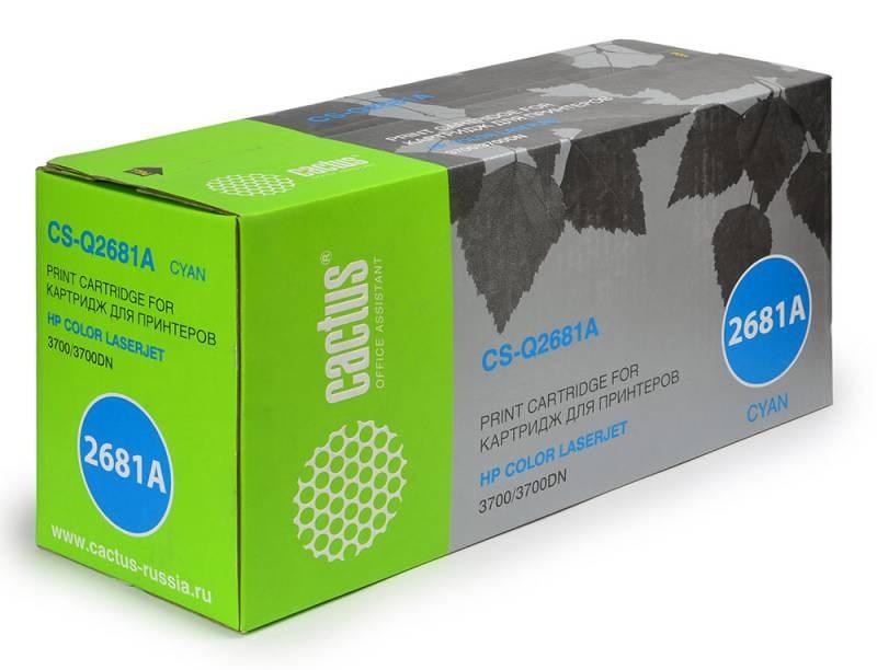 Лазерный картридж Cactus CS-Q2681A (HP 311A) голубой для принтеров HP  Color LaserJet 3700, 3700D, 3700DN, 3700DTN, 3700N (6000 стр.)Лазерные картриджи для HP<br>Лазерный картридж&amp;nbsp;Cactus CS-Q2681A&amp;nbsp;(HP 311A)?. Он совместим с лазерным принтером HP  Color LaserJet 3700, 3700D, 3700DN, 3700DTN, 3700N. Цвет - голубой. С помощью данного картриджа Вы сможете распечатать порядка 6000 страниц текста (при 5% заполнении листа).&amp;nbsp; Cactus CS-Q2681A&amp;nbsp;создан по аналогии с картриджем Hewlett-Packard Q2681A&amp;nbsp;(HP 311A), нисколько не уступает ему по качеству печати, но цена его значительно ниже. Это позволит Вам немного сэкономить, ничего при этом не потеряв. На тонер-картридж Cactus CS-Q2681A&amp;nbsp;распространяется гарантия 1 год с момента приобретения.<br>