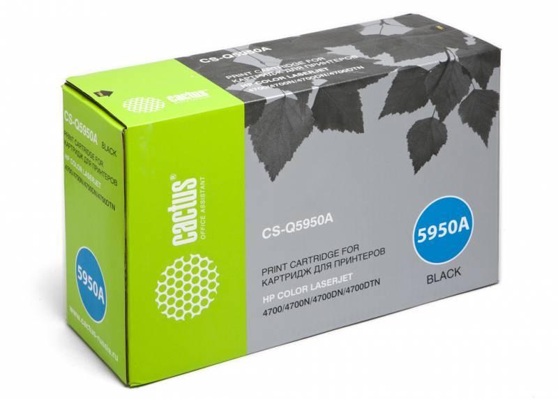 Лазерный картридж Cactus CS-Q5950A (HP 643A) черный для принтеров HP  Color LaserJet 4700, 4700DN, 4700DTN, 4700HDN, 4700N, 4700PH Plus (11000 стр.)Лазерные картриджи для HP<br>Лазерный картридж&amp;nbsp;Cactus CS-Q5950A&amp;nbsp;(HP 643A)?. Он совместим с лазерным принтером HP  Color LaserJet 4700, 4700DN, 4700DTN, 4700HDN, 4700N, 4700PH PLUS. Цвет - черный. С помощью данного картриджа Вы сможете распечатать порядка 11000 страниц текста (при 5% заполнении листа).&amp;nbsp; Cactus CS-Q5950A&amp;nbsp;создан по аналогии с картриджем Hewlett-Packard Q5950A&amp;nbsp;(HP 643A), нисколько не уступает ему по качеству печати, но цена его значительно ниже. Это позволит Вам немного сэкономить, ничего при этом не потеряв. На тонер-картридж Cactus CS-Q5950A&amp;nbsp;распространяется гарантия 1 год с момента приобретения.<br>