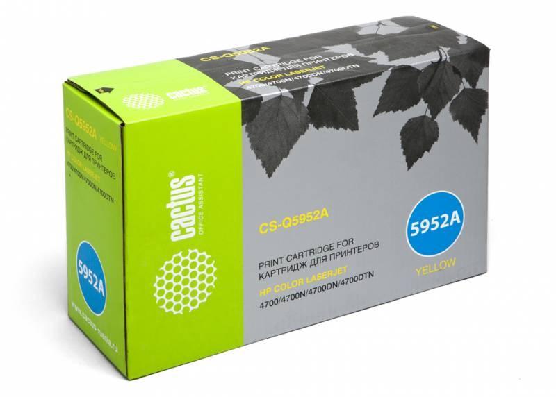 Лазерный картридж Cactus CS-Q5952A (HP 643A) желтый для принтеров HP  Color LaserJet 4700, 4700DN, 4700DTN, 4700HDN, 4700N, 4700PH Plus (10000 стр.)Лазерные картриджи для HP<br>Лазерный картридж&amp;nbsp;Cactus CS-Q5952A (HP 643A). Он совместим с лазерным принтером HP  Color LaserJet 4700, 4700DN, 4700DTN, 4700HDN, 4700N, 4700PH PLUS. Цвет - желтый. С помощью данного картриджа Вы сможете распечатать порядка 10000 страниц текста (при 5% заполнении листа).&amp;nbsp; Cactus CS-Q5952A создан по аналогии с картриджем Hewlett-Packard Q5952A (HP 643A), нисколько не уступает ему по качеству печати, но цена его значительно ниже. Это позволит Вам немного сэкономить, ничего при этом не потеряв. На тонер-картридж Cactus CS-Q5952A распространяется гарантия 1 год с момента приобретения.<br>