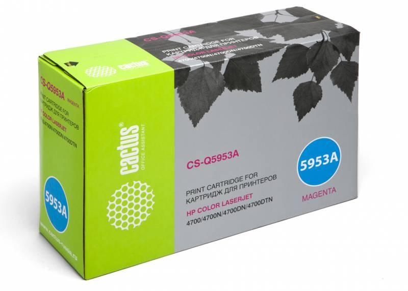 Лазерный картридж Cactus CS-Q5953A (HP 643A) пурпурный для принтеров HP  Color LaserJet 4700, 4700DN, 4700DTN, 4700HDN, 4700N, 4700PH Plus (10000 стр.)Лазерные картриджи для HP<br>Лазерный картридж&amp;nbsp;Cactus CS-Q5953A (HP 643A). Он совместим с лазерным принтером HP  Color LaserJet 4700, 4700DN, 4700DTN, 4700HDN, 4700N, 4700PH PLUS. Цвет - пурпурный. С помощью данного картриджа Вы сможете распечатать порядка 10000 страниц текста (при 5% заполнении листа).&amp;nbsp; Cactus CS-Q5953A&amp;nbsp;создан по аналогии с картриджем Hewlett-Packard Q5953A&amp;nbsp;(HP 643A), нисколько не уступает ему по качеству печати, но цена его значительно ниже. Это позволит Вам немного сэкономить, ничего при этом не потеряв. На тонер-картридж Cactus CS-Q5953A&amp;nbsp;распространяется гарантия 1 год с момента приобретения.<br>