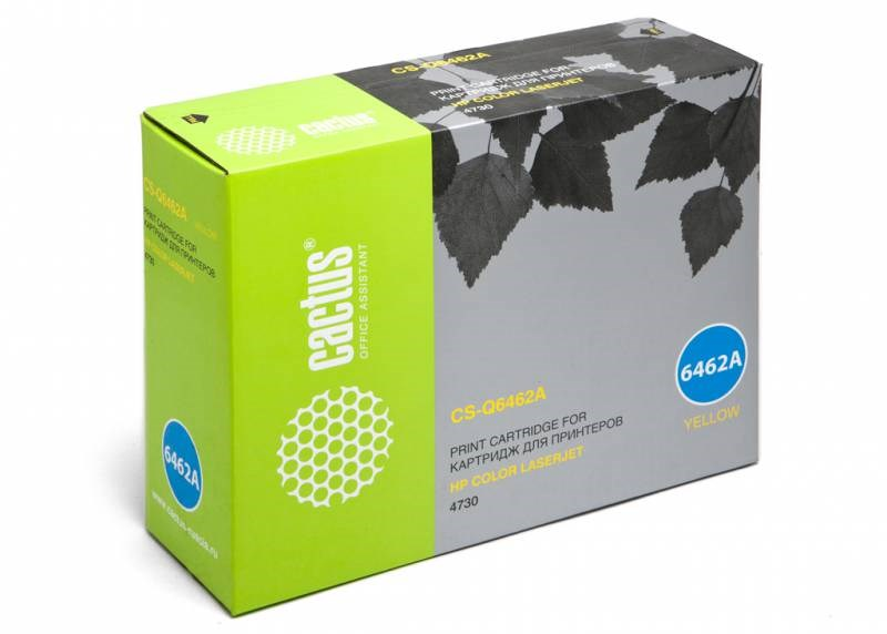 Лазерный картридж Cactus CS-Q6462A (HP 644A) желтый для принтеров HP  Color LaserJet 4730, 4730MFP, 4730X MFP, 4730XM MFP, 4730XS MFP, CM4730, CM4730F, CM4730FM, CM4730FSK, CM4730 MFP (12000 стр.)Лазерные картриджи для HP<br>Лазерный картридж&amp;nbsp;Cactus CS-Q6462A&amp;nbsp;(HP 644A)?. Он совместим с лазерным принтером HP  Color LaserJet 4730, 4730MFP, 4730X MFP, 4730XM MFP, 4730XS MFP, CM4730, CM4730F, CM4730FM, CM4730FSK, CM4730 MFP. Цвет - желтый. С помощью данного картриджа Вы сможете распечатать порядка 12000 страниц текста (при 5% заполнении листа).&amp;nbsp; Cactus CS-Q6462A&amp;nbsp;создан по аналогии с картриджем Hewlett-Packard Q6462A&amp;nbsp;(HP 644A), нисколько не уступает ему по качеству печати, но цена его значительно ниже. Это позволит Вам немного сэкономить, ничего при этом не потеряв. На тонер-картридж Cactus CS-Q6462A&amp;nbsp;распространяется гарантия 1 год с момента приобретения.<br>