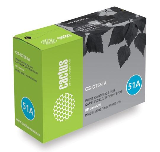 Лазерный картридж Cactus CS-Q7551A (HP 51A) черный для принтеров HP LaserJet M3027 MFP, M3027x MFP, M3035 MFP, M3035x MFP, M3035xs MFP, P3005, P3005d, P3005dn, P3005n, P3005x (6500 стр.)Лазерные картриджи для HP<br>Лазерный картридж&amp;nbsp;Cactus CS-Q7551A (HP 51A)?. Он совместим с лазерным принтером HP LaserJet M3027 MFP, M3027X MFP, M3035 MFP, M3035X MFP, M3035XS MFP, P3005, P3005D, P3005DN, P3005N, P3005X. Цвет - черный. С помощью данного картриджа Вы сможете распечатать порядка 6500 страниц текста (при 5% заполнении листа).&amp;nbsp; Cactus CS-Q7551A&amp;nbsp;создан по аналогии скартриджем Hewlett-Packard Q7551A (HP 51A), нисколько не уступает ему по качеству печати, но цена его значительно ниже. Это позволит Вам немного сэкономить, ничего при этом не потеряв. На тонер-картридж Cactus CS-Q7551A распространяется гарантия 1 год с момента приобретения.<br>