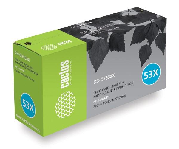 Лазерный картридж Cactus CS-Q7553X (HP 53X) черный для принтеров HP LaserJet M2727 MFP, M2727nf MFP, M2727nfs MFP, P2010 series, P2012, P2014, P2012n, P2014n, P2015, P2015d, P2015dn, P2015n, P2015x (7000 стр.)Лазерные картриджи для HP<br>Лазерный картридж&amp;nbsp;Cactus CS-Q7553X&amp;nbsp;(HP 53X)?. Он совместим с лазерным принтером HP LaserJet M2727 MFP, M2727NF MFP, M2727NFS MFP, P2010 SERIES, P2012, P2014, P2012N, P2014N, P2015, P2015D, P2015DN, P2015N, P2015X. Цвет - черный. С помощью данного картриджа Вы сможете распечатать порядка 7000 страниц текста (при 5% заполнении листа).&amp;nbsp; Cactus CS-Q7553X&amp;nbsp;создан по аналогии с картриджем Hewlett-Packard Q7553X&amp;nbsp;(HP 53X), нисколько не уступает ему по качеству печати, но цена его значительно ниже. Это позволит Вам немного сэкономить, ничего при этом не потеряв. На тонер-картридж Cactus CS-Q7553X&amp;nbsp;распространяется гарантия 1 год с момента приобретения.<br>