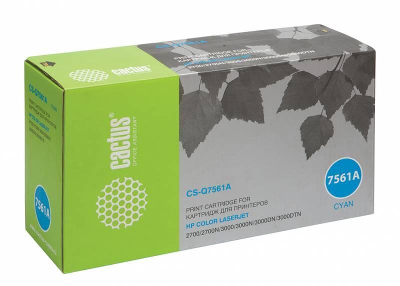 Лазерный картридж Cactus CS-Q7561A (HP 314A) голубой для HP Color LaserJet 2700, 2700N, 3000, 3000DN, 3000DTN, 3000N (3500 стр.)Лазерные картриджи для HP<br><br><br>Лазерный картридж Cactus CS-Q7561Anbsp;<br><br>Предназначен для использования в принтерах HP Color LaserJet 2700, 2700N, 3000, 3000DN, 3000DTN, 3000Nnbsp;<br><br>Страна производства - Китай<br><br>Цвет ndash; голубой<br><br>Используя картридж Cactus CS-Q7561A у Вас будет возможность распечатать около 3#39;500 информационных страниц (при 5% заполнении).<br><br>Гарантия на картридж Cactus CS-Q7561A предоставляется производителем, сроком на 12 месяцев с момента приобретения.<br><br>