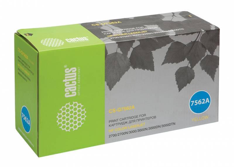 Лазерный картридж Cactus CS-Q7562A (HP 314A) желтый для принтеров HP  Color LaserJet 2700, 2700N, 3000, 3000DN, 3000DTN, 3000N (3500 стр.)Лазерные картриджи для HP<br>Лазерный картридж&amp;nbsp;Cactus CS-Q7562A&amp;nbsp;(HP 314A)?. Он совместим с лазерным принтером HP  Color LaserJet M1120 2700, 2700N, 3000, 3000DN, 3000DTN, 3000N. Цвет - желтый. С помощью данного картриджа Вы сможете распечатать порядка 3500 страниц текста (при 5% заполнении листа).&amp;nbsp; Cactus CS-Q7562A&amp;nbsp;создан по аналогии с картриджем Hewlett-Packard Q7562A&amp;nbsp;(HP 314A), нисколько не уступает ему по качеству печати, но цена его значительно ниже. Это позволит Вам немного сэкономить, ничего при этом не потеряв. На тонер-картридж Cactus CS-Q7562A&amp;nbsp;распространяется гарантия 1 год с момента приобретения.<br>