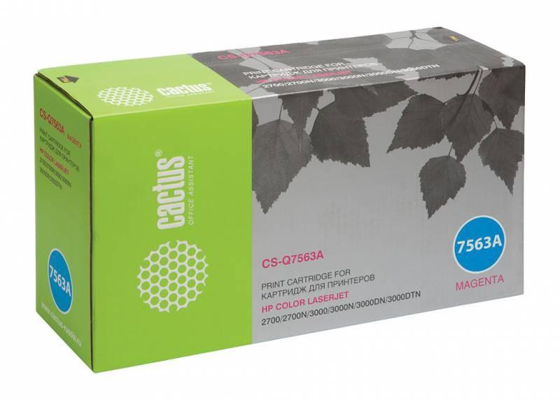Лазерный картридж cactus cs-q7563a (hp 314a) пурпурный для hp color laserjet 2700, 2700n, 3000, 3000dn, 3000dtn, 3000n (3500 стр.)