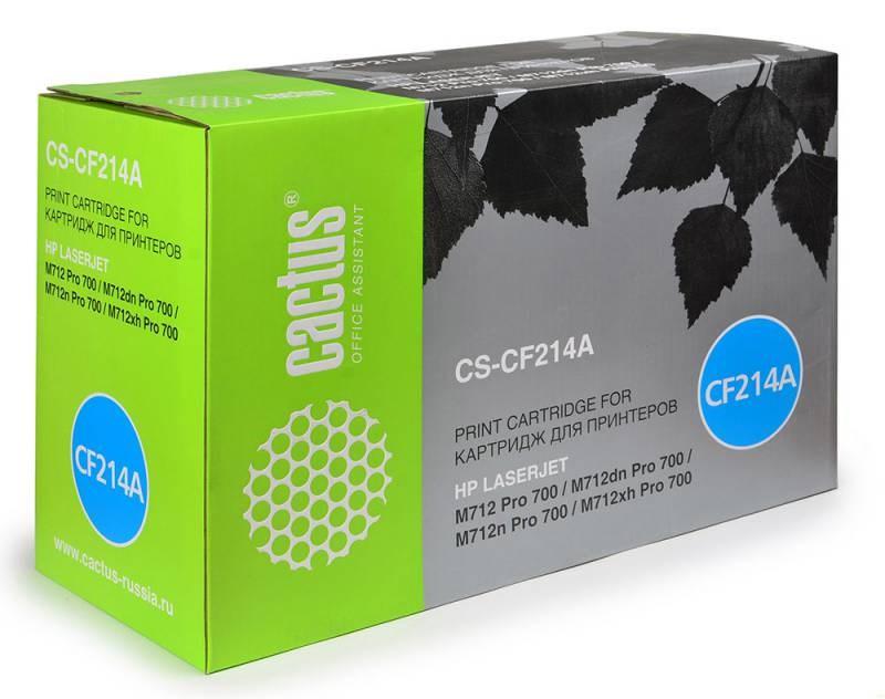 Лазерный картридж Cactus CS-CF214A (HP 14A) черный для принтеров HP LaserJet M712 Pro 700, M712dn Pro 700, M712n Pro 700, M712xh Pro 700, M725 Enterprise 700, M725dn Enterprise 700 (CF066A), M725f Enterprise 700 (CF067A) (10000 стр.)Лазерные картриджи для HP<br>Лазерный картридж&amp;nbsp;Cactus CS-CF214A&amp;nbsp;(HP 14A). Он совместим с лазерным принтером HP LaserJet M712 PRO 700, M712DN PRO 700, M712N PRO 700, M712XH PRO 700, M725 ENTERPRISE 700, M725DN ENTERPRISE 700 (CF066A), M725F ENTERPRISE 700 (CF067A),&amp;nbsp;M725Z ENTERPRISE 700&amp;nbsp;(CF068A),&amp;nbsp;M725Z+ MFP ENTERPRISE 700&amp;nbsp;(CF069A). Цвет - черный. С помощью данного картриджа Вы сможете распечатать порядка 10000 страниц текста (при 5% заполнении листа).&amp;nbsp; Cactus CS-CF214A&amp;nbsp;создан по аналогии с картриджем Hewlett-Packard CF214A&amp;nbsp;(HP 14A), нисколько не уступает ему по качеству печати, но цена его значительно ниже. Это позволит Вам немного сэкономить, ничего при этом не потеряв. На тонер-картридж Cactus CS-CF214A&amp;nbsp;распространяется гарантия 1 год с момента приобретения.<br>