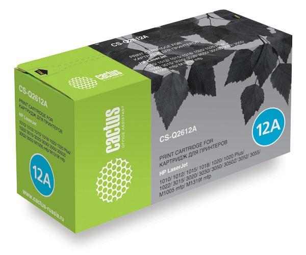 Лазерный картридж Cactus CS-Q2612AS (HP 12A) черный для принтеров HP LaserJet 1010, 1012, 1015, 1018, 1020, 1020 Plus, 1022, 1022N, 1022NW, 3015, 3020, 3030, 3050, 3050z, 3052, 3055, M1005 MFP, M1300 MFP, M1319, M1319f MFP, M1319MFP (2000 стр.)Лазерные картриджи для HP<br>Лазерный картридж&amp;nbsp;Cactus CS-Q2612AS&amp;nbsp;(HP 12A)?. Он совместим с лазерным принтером HP LaserJet 1010, 1012, 1015, 1018, 1020, 1020 PLUS, 1022, 1022N, 1022NW, 3015, 3020, 3030, 3050, 3050Z, 3052, 3055, M1005 MFP, M1300 MFP, M1319, M1319F MFP, M1319MFP. Цвет - черный. С помощью данного картриджа Вы сможете распечатать порядка 2000 страниц текста (при 5% заполнении листа).&amp;nbsp; Cactus CS-Q2612AS создан по аналогии с картриджем Hewlett-Packard Q2612A&amp;nbsp;(HP 12A), нисколько не уступает ему по качеству печати, но цена его значительно ниже. Это позволит Вам немного сэкономить, ничего при этом не потеряв. На тонер-картридж Cactus CS-Q2612AS распространяется гарантия 1 год с момента приобретения.<br>