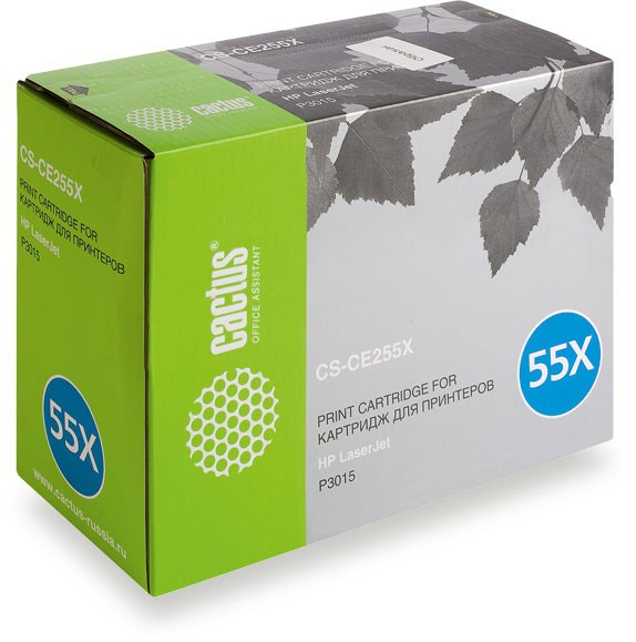 Лазерный картридж Cactus CS-CE255XS(HP 55X) черный увеличенной емкости для HP LaserJet M521 Pro 500 MFP, M521dn Pro MFP, M521dw Pro MFP, M525 , M525c MFP, M525f, P3010, P3015, P3015d, P3015dn, P3015n, P3015X (12500 стр.)Лазерные картриджи для HP<br><br><br>Лазерный картридж Cactus CS-CE255XS<br><br>Предназначен для использования в принтерах HP LaserJet M521 Pro 500 MFP, M521dn Pro MFP (A8P79A), M521dw Pro MFP (A8P80A), M525 Enterprise flow MFP, M525c MFP, M525dn MFP, M525f MFP, P3010 Enterprise, P3015 Enterprise, P3015d, P3015dn, P3015n, P3015x<br><br>Страна производства - Китай<br><br>Цвет ndash; черный<br><br>Используя картридж Cactus CS-CE255XS у Вас будет возможность распечатать около 12#39;500 информационных страниц (при 5% заполнении).<br><br>Гарантия на картридж Cactus CS-CE255XS предоставляется производителем, сроком на 12 месяцев с момента приобретения.<br><br>