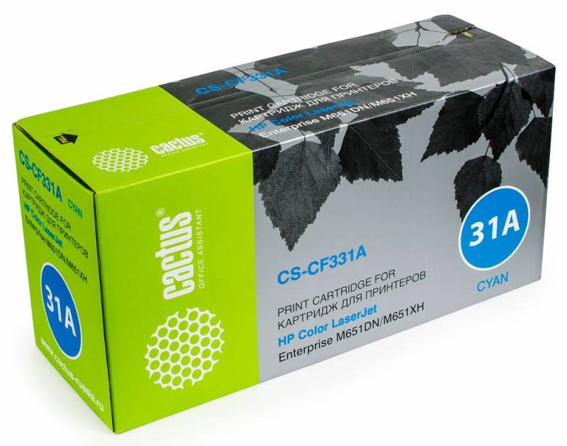 Лазерный картридж Cactus CS-CF331A (HP 654A) голубой для HP Color LaserJet M651, M651dn, M651n, M651xh (15000 стр.)Лазерные картриджи для HP<br><br><br>Лазерный картридж Cactus CS-CF331Anbsp;<br><br>Предназначен для использования в принтерах HP Color LaserJet M651 Enterprise, M651dn Enterprise (CZ256A), M651n Enterprise (CZ255A), M651xh Enterprise (CZ257A)nbsp;<br><br>Страна производства - Китай<br><br>Цвет ndash; голубой<br><br>Используя картридж Cactus CS-CF331A у Вас будет возможность распечатать около 15#39;000 информационных страниц (при 5% заполнении).<br><br>Гарантия на картридж Cactus CS-CF331A предоставляется производителем, сроком на 12 месяцев с момента приобретения.<br><br>