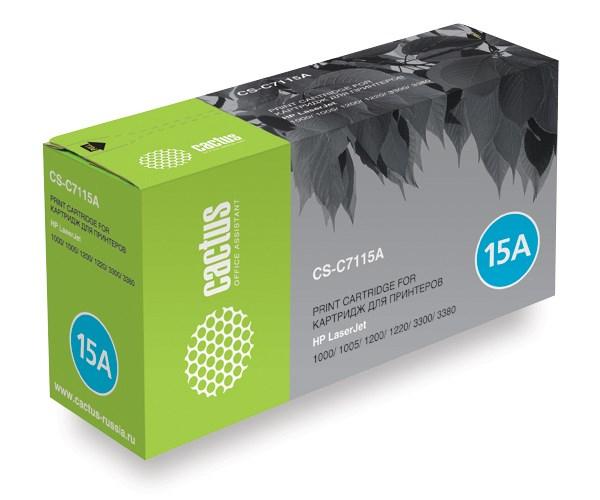 Лазерный картридж Cactus CS-C7115AS (HP 15A) черный для принтеров HP LaserJet 1000, 1000W, 1005, 1005W, 1200, 1200N, 1200SE, 1220, 1220SE, 3300, 3300MFP, 3310, 3320, 3320MFP, 3320N, 3320N MFP, 3330, 3330MFP, 3380, 3380MFP (2500 стр.)Лазерные картриджи для HP<br>Лазерный картридж&amp;nbsp;Cactus CS-C7115AS&amp;nbsp;(HP 15A)?. Он совместим с лазерным принтером HP LaserJet 1000, 1000W, 1005, 1005W, 1200, 1200N, 1200SE, 1220, 1220SE, 3300, 3300MFP, 3310, 3320, 3320MFP, 3320N, 3320N MFP, 3330, 3330MFP, 3380, 3380MFP. Цвет - черный. С помощью данного картриджа Вы сможете распечатать порядка 2500 страниц текста (при 5% заполнении листа).&amp;nbsp; Cactus CS-C7115AS &amp;nbsp;создан по аналогии с картриджем Hewlett-Packard C7115A&amp;nbsp;(HP 15A), нисколько не уступает ему по качеству печати, но цена его значительно ниже. Это позволит Вам немного сэкономить, ничего при этом не потеряв. На тонер-картридж Cactus CS-C7115AS распространяется гарантия 1 год с момента приобретения.<br>