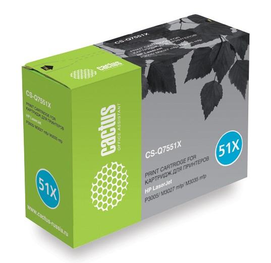 Лазерный картридж Cactus CS-Q7551XS (HP 51X) черный для принтеров HP LaserJet M3027 MFP, M3027x MFP, M3035 MFP, M3035x MFP, M3035xs MFP, P3005, P3005d, P3005dn, P3005n, P3005x (13000 стр.)Лазерные картриджи для HP<br>Лазерный картридж&amp;nbsp;Cactus CS-Q7551XS (HP 51X)?. Он совместим с лазерным принтером HP LaserJet M3027 MFP, M3027X MFP, M3035 MFP, M3035X MFP, M3035XS MFP, P3005, P3005D, P3005DN, P3005N, P3005X. Цвет - черный. С помощью данного картриджа Вы сможете распечатать порядка 13000 страниц текста (при 5% заполнении листа).&amp;nbsp; Cactus CS-Q7551XS создан по аналогии скартриджем Hewlett-Packard Q7551X&amp;nbsp;(HP 51X), нисколько не уступает ему по качеству печати, но цена его значительно ниже. Это позволит Вам немного сэкономить, ничего при этом не потеряв. На тонер-картридж Cactus CS-Q7551XS распространяется гарантия 1 год с момента приобретения.<br>