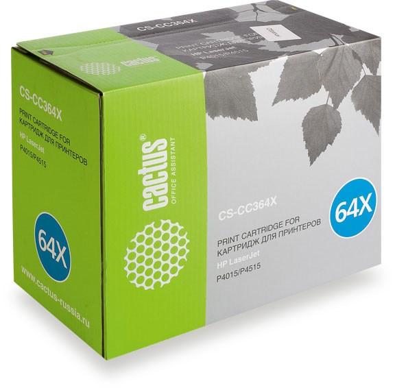 Лазерный картридж Cactus CS-CC364XS (64X Bk) черный для HP LaserJet P4010, P4015, P4015dn, P4015n, P4015tn, P4015x, P4510, P4515, P4515n, P4515tn, P4515x, P4515xm (24000 стр.)Лазерные картриджи для HP<br><br><br>Лазерный картридж Cactus CS-CC364XS<br><br>Предназначен для использования в принтерах HP LaserJet P4010, P4015, P4015dn, P4015n, P4015tn, P4015x, P4510, P4515, P4515n, P4515tn, P4515x, P4515xm<br><br>Цвет &amp;ndash; черный<br><br>Используя картридж Cactus CS-CC364XS у Вас будет возможность распечатать около 24&amp;#39;000 информационных страниц (при 5% заполнении).<br><br>Гарантия на картридж Cactus CS-CC364XS предоставляется производителем, сроком на 12 месяцев с момента приобретения.<br><br><br>