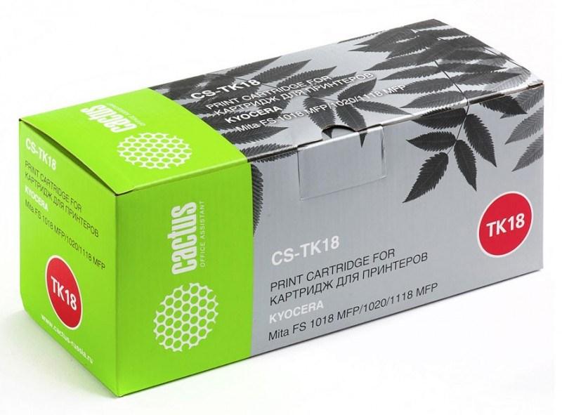 Лазерный картридж Cactus CS-TK18 (Mita TK-18) черный для принтеров Kyocera Mita FS 1018, 1018 MFP, 1020, 1020D, 1020DN, 1020DT, 1020DTN, 1118 MFP, 1118F MFP, 1118 FPD MFP, Olivetti d-Copia 18MF, Utax CD1018 (7200 стр.) 690217