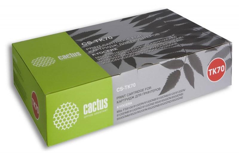 Лазерный картридж Cactus CS-TK70 (Mita TK-70) черный для принтеров Kyocera Mita FS 9100, 9100DN, 9100DN B, M, 9120, 9120DN, 9120DN D, E, 9500, 9500DN, 9500DN 9520, 9520DN, 9520DN E (40000 стр.)