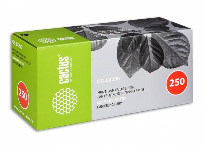 Лазерный картридж Cactus CS-LX250 (E250A11E, E250A21E) черныый для принтеров Lexmark Optra E250, E250D, E250DN, E350, E350D, E350DN, E352, E352DN (3500 стр.)Лазерные картриджи<br>Лазерный тонер картридж Cactus CS-LX250 (E250A11E, E250A21E) создан для использования в принтерах Lexmark Optra E250, E250D, E250DN, E350, E350D, E350DN, E352, E352DN<br>&amp;nbsp;<br><br>Ресурс картриджа 3500 страниц<br>&amp;nbsp;<br><br>Гарантия 12 месяцев<br>