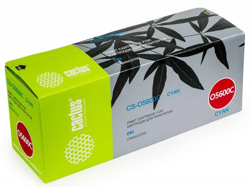 Лазерный картридж Cactus CS-O5600C (43381907) голубой для принтеров Oki C 5600, 5600dn, 5600n, 5700, 5700dn, 5700n (2'000 стр.) фото