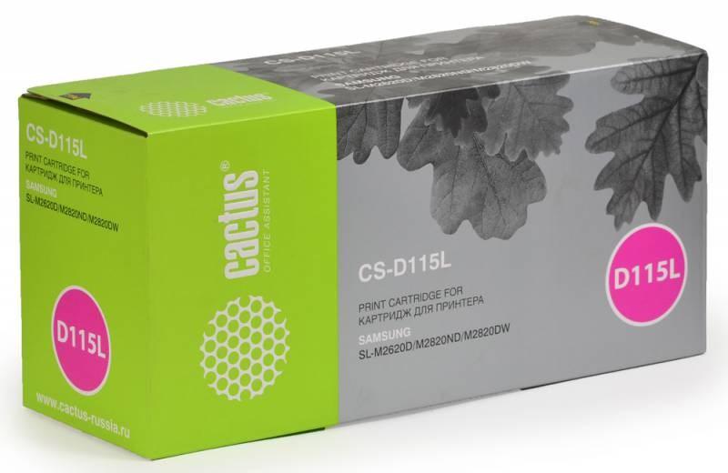 Лазерный картридж Cactus CS-D115L (MLT-D115L) черный для принтеров Samsung Xpress M2620, M2620D, M2820, M2820DW, M2820ND, M2830, M2830DW, M2870, M2870FD, M2870FW (3000 стр.)Картриджи для Samsung<br>Лазерный тонер картридж Cactus CS-D115L (MLT-D115L) создан для использования в принтерах Samsung Xpress M2620, M2620D, M2820, M2820DW, M2820ND, M2830, M2830DW, M2870, M2870FD, M2870FW<br>&amp;nbsp;<br><br>Ресурс картриджа 3000 страниц<br>&amp;nbsp;<br><br>Гарантия 12 месяцев<br>