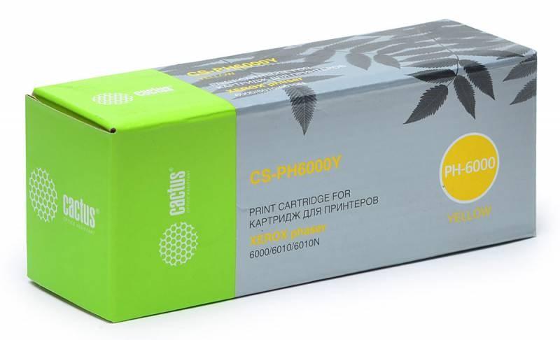 Лазерный картридж Cactus CS-PH6000Y (106R01633) желтый для Xerox Phaser 6000, 6000b, 6010, 6010n; WorkCentre 6015, 6015b, 6015n, 6015ni (1'000 стр.) фото