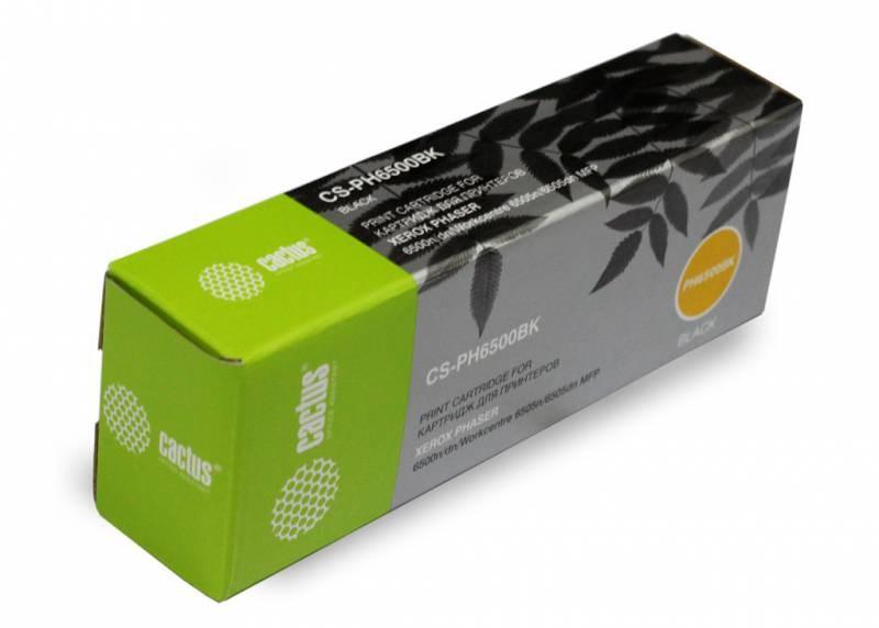 Лазерный картридж Cactus CS-PH6500BK (106R01604) черный для Xerox Phaser 6500, 6500DN, 6500N, 6500V; WorkCentre 6505, 6505N, 6505V (3000 стр.)Лазерные картриджи для Xerox<br><br><br>Лазерный картридж Cactus CS-PH6500BK<br><br>Предназначен для использования в принтерах Xerox Phaser 6500, 6500DN, 6500N, 6500V; WorkCentre 6505, 6505N, 6505V<br><br>Страна производства - Китай<br><br>Цвет ndash; черный<br><br>Используя картридж Cactus CS-PH6500BK у Вас будет возможность распечатать около 3#39;000 информационных страниц (при 5% заполнении).<br><br>Гарантия на картридж Cactus CS-PH6500BK предоставляется производителем, сроком на 12 месяцев с момента приобретения.<br><br>