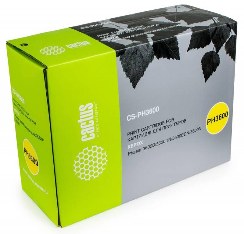 Лазерный картридж Cactus CS-PH3600 (106R01371) черный для Xerox Phaser 3600, 3600b, 3600dn, 3600n, 3600vb (14000 стр.)Лазерные картриджи для Xerox<br><br><br>Лазерный картридж Cactus CS-PH3600<br><br>Предназначен для использования в принтерах Xerox Phaser 3600, 3600b, 3600dn, 3600n, 3600vb<br><br>Страна производства - Китай<br><br>Цвет ndash; черный<br><br>Используя картридж Cactus CS-PH3600 у Вас будет возможность распечатать около 14#39;000 информационных страниц (при 5% заполнении).<br><br>Гарантия на картридж Cactus CS-PH3600 предоставляется производителем, сроком на 12 месяцев с момента приобретения.<br><br>