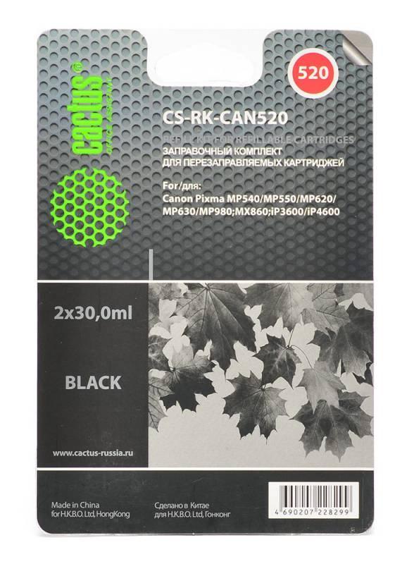 Заправка для ПЗК Cactus CS-RK-CAN520 черный (19.6мл) Canon PIXMA MP540