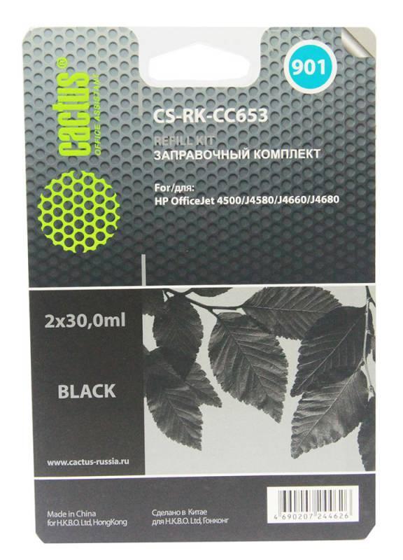 Заправочный набор Cactus CS-RK-CC653 черный (2x30мл) HP OfficeJet 4500, J4580, J4660, J4680