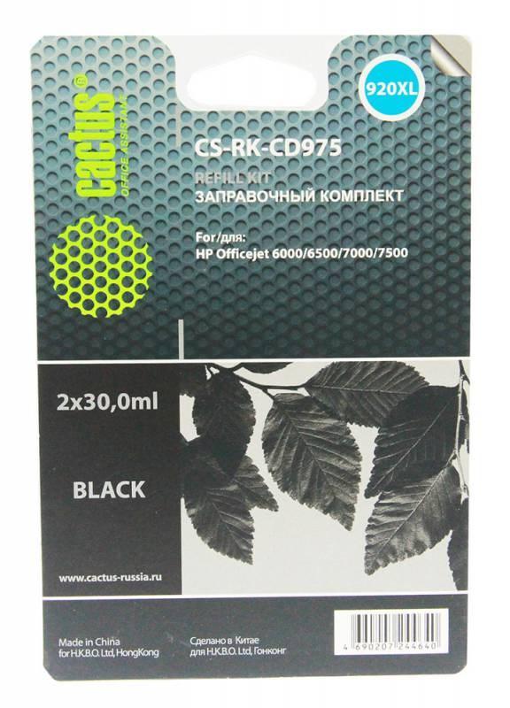 Заправочный набор Cactus CS-RK-CD975 черный (2x30мл) HP Officejet 6000, 6500, 7000, 7500